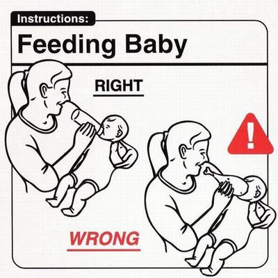 Clear instructions help guide the audience to a desired result. Photo: http://sunshineandsippycups.com/2011/11/baby-instructions-for-new-moms-humor/